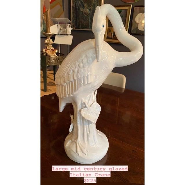 Italian Mid Century Italian Crane Bird Glazed Sculpture For Sale - Image 3 of 10