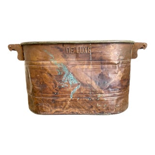 Vintage 'De Luxe' French Copper Wash Bucket For Sale