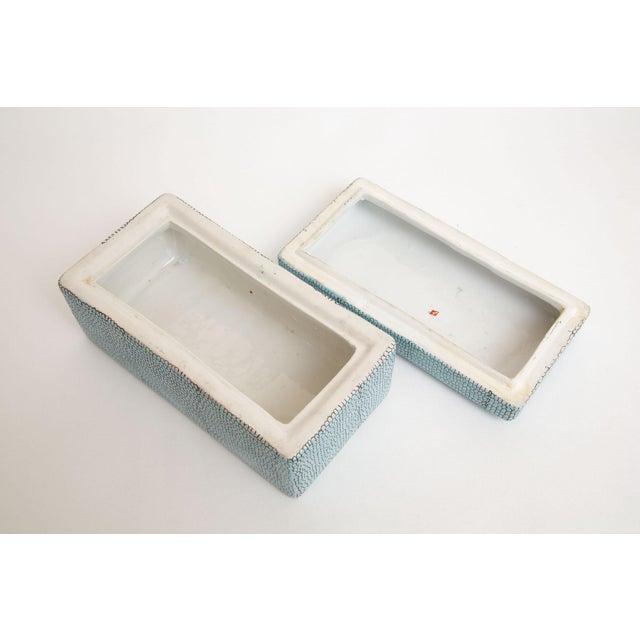 Turquoise Robins Egg Blue Snakeskin Glazed Porcelain Lidded Box For Sale - Image 10 of 13