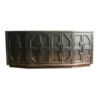 Distressed Finish Console Cabinet For Sale