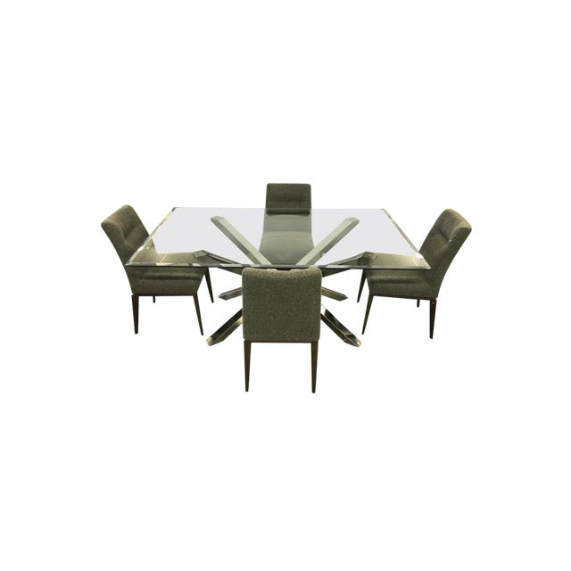 Glass and Chrome Dining Table and 4 Calligaris Chairs Set For Sale