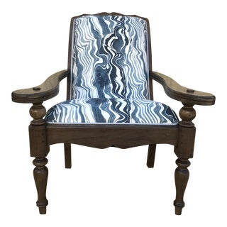Vintage Navy Marble Colonial Plantation Chair For Sale