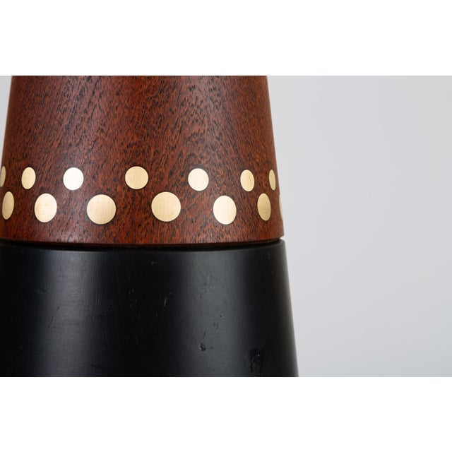 Danish Teak Lamp With Inlaid Brass For Sale In Los Angeles - Image 6 of 9