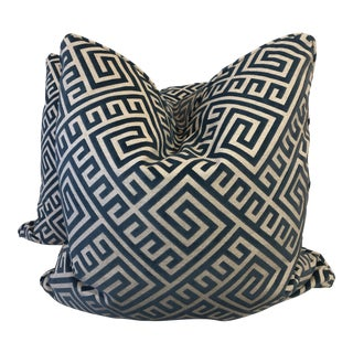 "Cut Velvet on Linen 22"" Pillows-A Pair For Sale"
