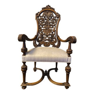 Antique Hand Carved Wood Library Chair For Sale