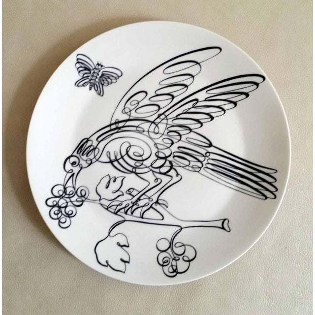 Vintage Piero Fornasetti Porcelain Uccelli Calligrafici Bird Plate, Number 5 in series, 1962. The Piero Fornasetti...