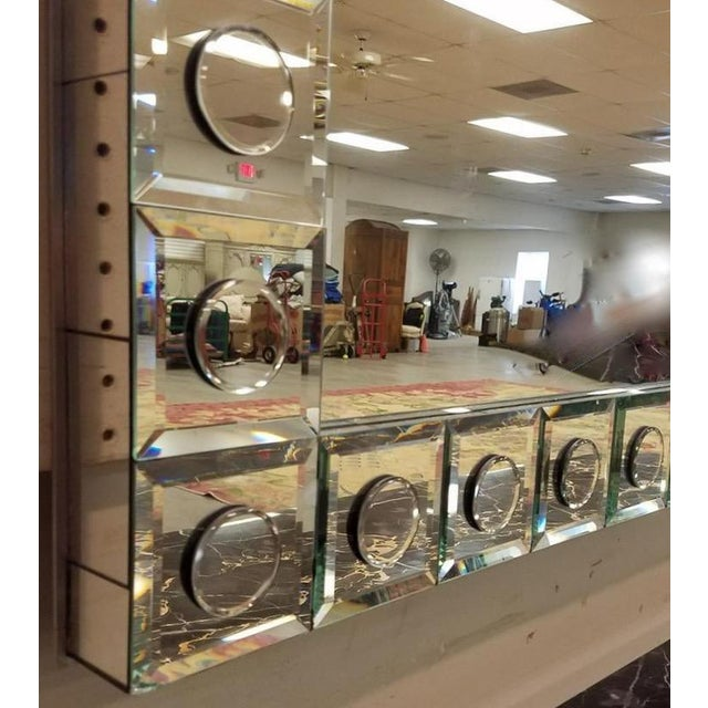 Modern Applied Circle Mirrored Frame Wall Mirror For Sale In Boston - Image 6 of 9
