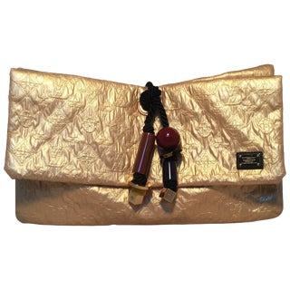 Louis Vuitton Gold Leather African Queen Masai Gm Limelight Monogram Clutch For Sale