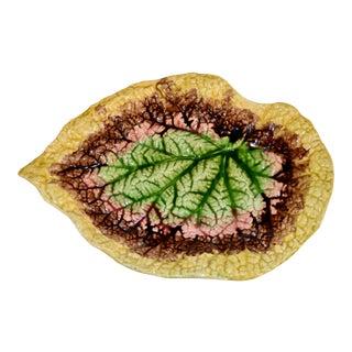 19th C. Majolica Begonia Leaf Tray For Sale