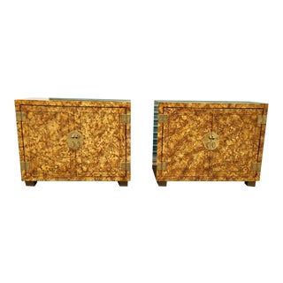 Henredon Faux Tortoise Shell Cabinets a Pair For Sale