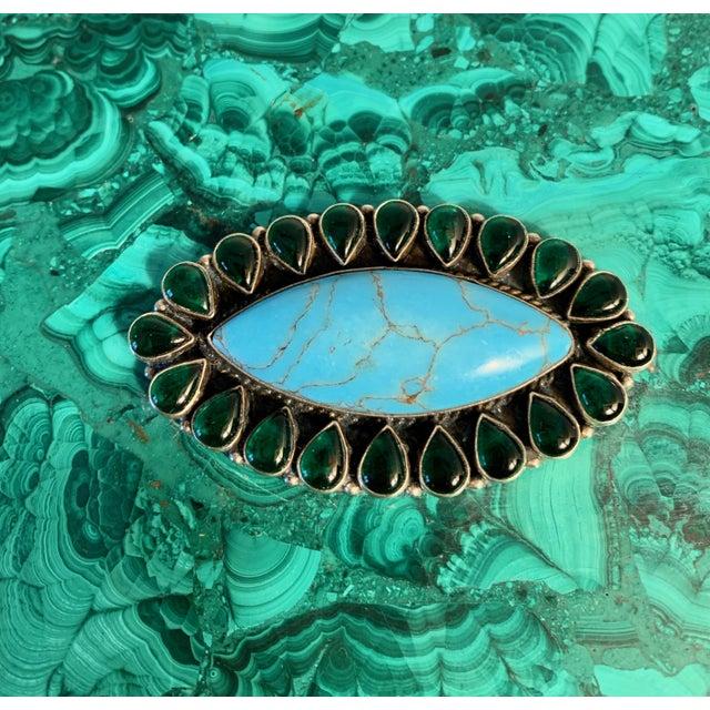 Malachite Box With Semi Precious Stones Set in Sterling For Sale - Image 9 of 12