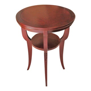 Transitional Glass Topped Round Cherrywood Side Table