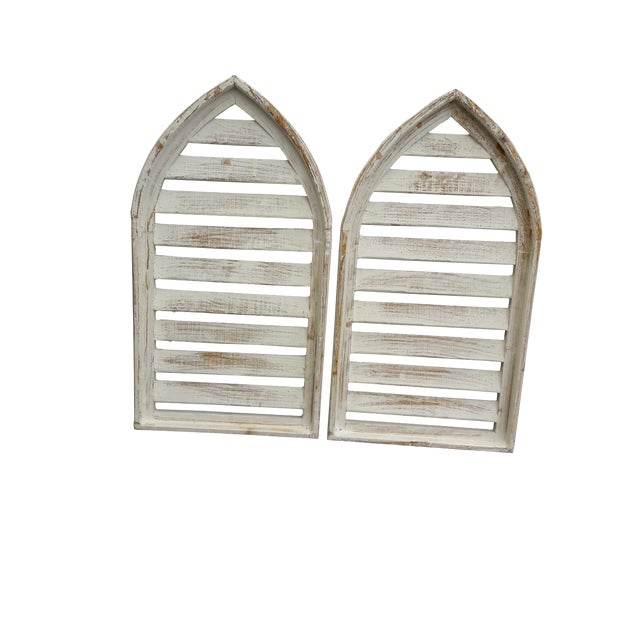 Pair Rustic Shabby Cottage Distressed Cathedral Shutter Window For Sale