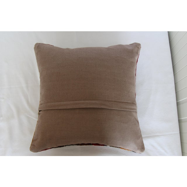 """Cotton Turkish Vintage Decorative Handmade Pillow Cover - 16"""" x 16"""" For Sale - Image 7 of 7"""
