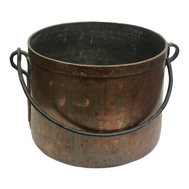 French Rustic Copper Pot For Sale