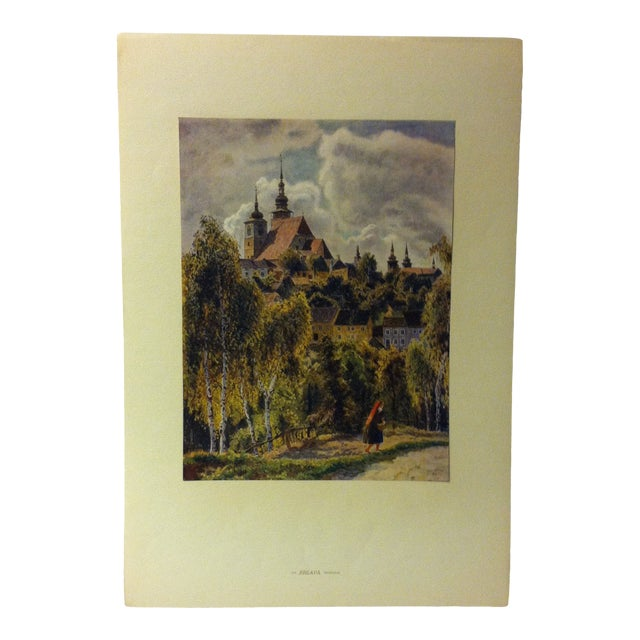 "Vintage Mounted Czechoslovakian Color Print, ""Jihlaua - Morava"" For Sale"