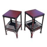 Image of Boho Chic Palacek Rattan /Wicker Side Tables - a Pair For Sale