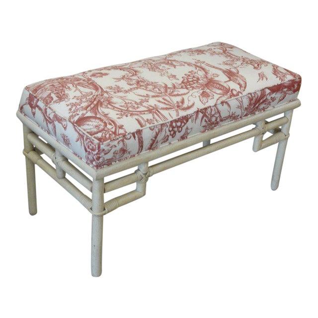 Vintage Ficks Reed Rattan Upholstered Bench - Image 1 of 5