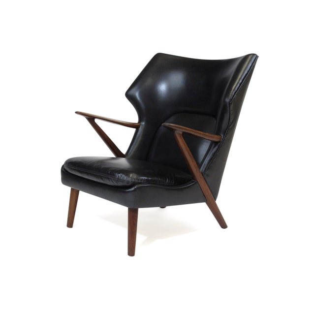 Kurt Olsen Danish Rosewood Black Leather Bear Chair For Sale - Image 11 of 11