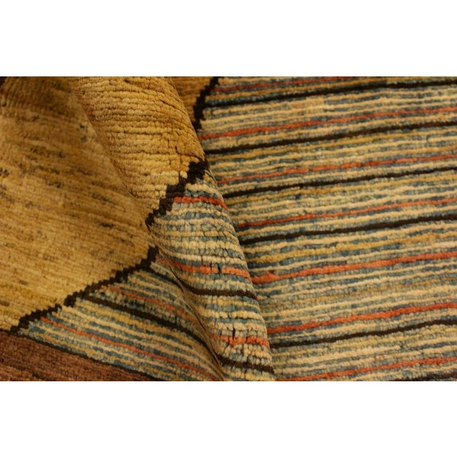 Gabbeh Peshawar Valentin Brown/Gold Hand-Knotted Wool Rug -3'0 X 4'8 For Sale - Image 4 of 8