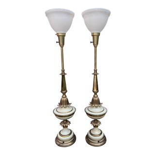 Vintage Stiffel Torchiere Table or Buffet Lamps - a Pair For Sale