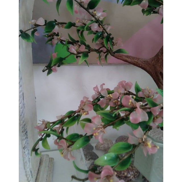 Large Mid-Century Chinoiserie Glass Cherry Blossom Flower Oriental Tree Sculpture For Sale - Image 4 of 6