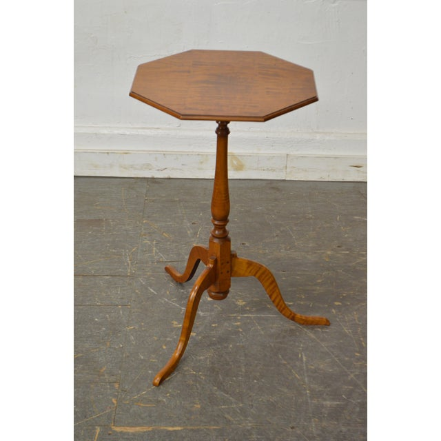 Eldred Wheeler Tiger Maple Snake Foot Candle Stand For Sale - Image 9 of 10