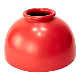 Late 20th Century Wide Lacquered Coral Vase For Sale