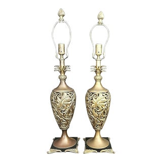 High-End Reticulated Pierced Pineapple Solid Brass Scroll Urn Table Lamps - Set of 2 For Sale