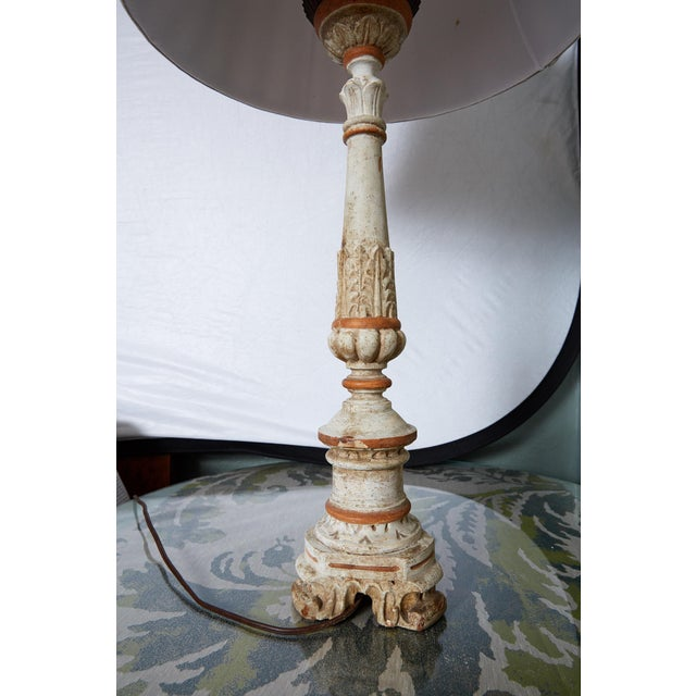 Cream Louis XVI Carved and Painted Alter Candlestick Lamp For Sale - Image 8 of 9