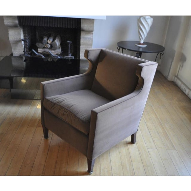 Textile Jacques Quinet Pair of Chic Wing Chairs For Sale - Image 7 of 8
