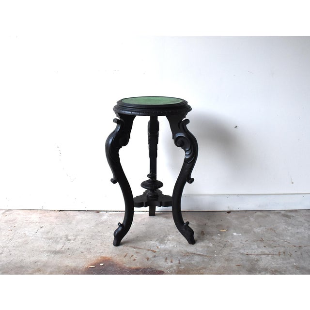 Victorian French Napoleon III Black Ebonized Plant Stand Gueridon Table For Sale - Image 3 of 12
