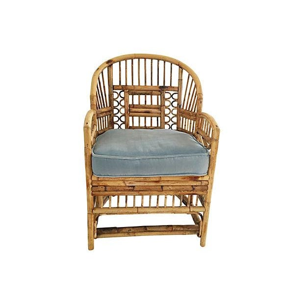 Bamboo Barrel Chair With Velvet Cushion - Image 2 of 6