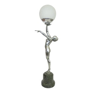 French Art Deco Style Nude Danseuse Bronze Statue Table Lamp For Sale