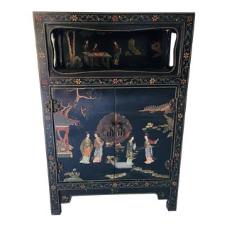 Vintage Asian Style Black Cabinet/Bar/Server