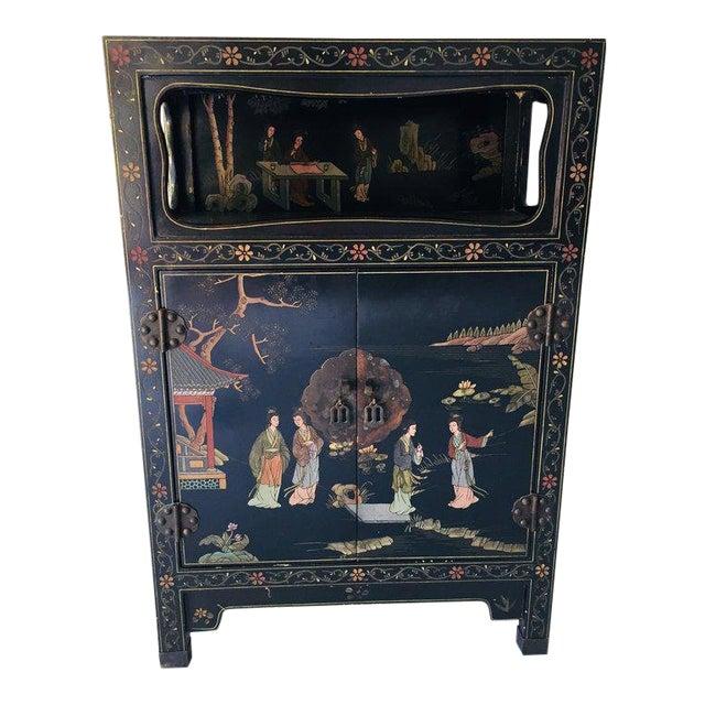 Vintage Asian Style Black Cabinet/Bar/Server For Sale