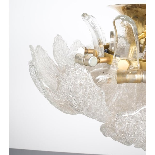 Great Barovier Toso Flush Mount or Chandelier Glass Brass, Italy Mid Century For Sale - Image 9 of 13