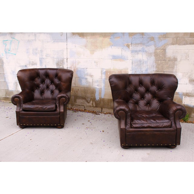 Restoration Hardware Club Chairs & Ottomans - A Pair - Image 9 of 11