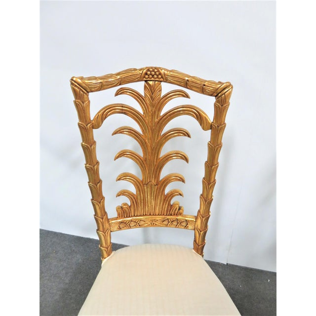 French French Gold Gilt Leaf Carved Side Chairs- a Pair For Sale - Image 3 of 7