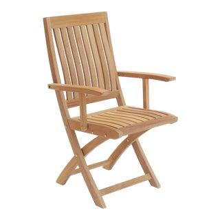 Niagara Teak Crown Folding Arm Chair For Sale
