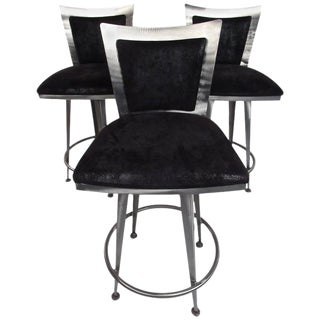 Italian Modern Swivel Barstools - Set of 3 For Sale