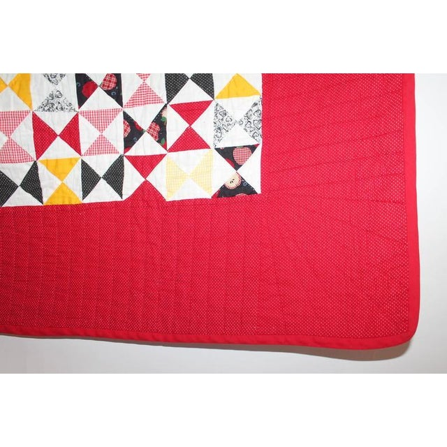 Country Vibrant Mini-Peiced Hour Glass Crib Quilt For Sale - Image 3 of 7