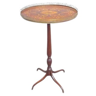 Antique Oval Inlaid Pedestal Table For Sale
