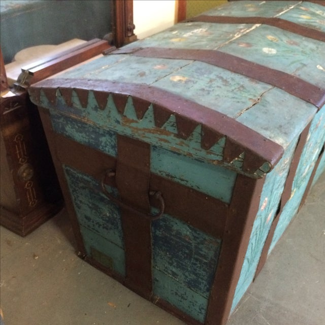 Cottage Antique Painted Chest 1822 For Sale - Image 3 of 11
