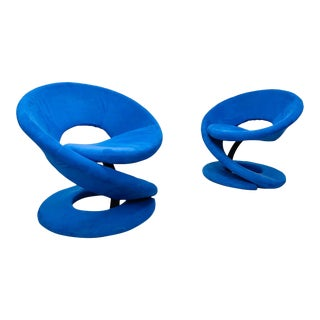 Post Modern Blue Suede Spiral Lounge Chairs by Jaymar of Canada - a Pair For Sale