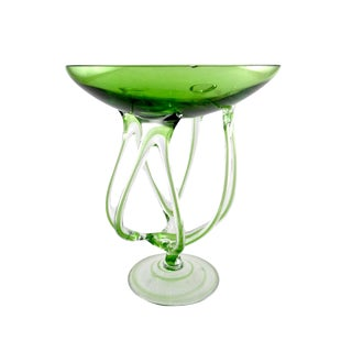 Hand Blown Jozefina Lime Green Spider Glass Candle Holder For Sale