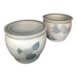 Pair of Chinese Blue & White Ceramic Leaf Planters For Sale