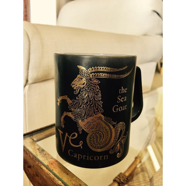 Mid-Century Modern Vintage Black & Gold Zodiac Coffee Cup Mug For Sale - Image 3 of 11