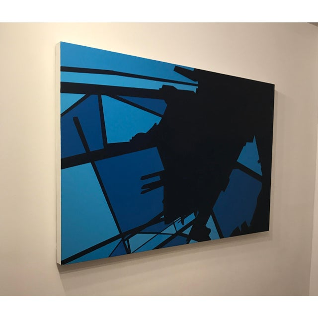 This contemporary abstract oil painting by American artist Brandon Woods features rich, inky navy blue on a royal blue and...