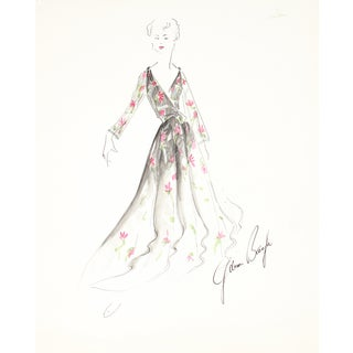 Floral Dress, 1950s Original Fashion Illustration For Sale